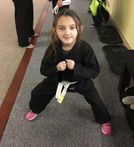 Julianna in a Tae Kwon Doe pose