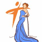 Drawing of woman in bright blue gown with orange hair and arm cane with AIM orange logo set behind hre