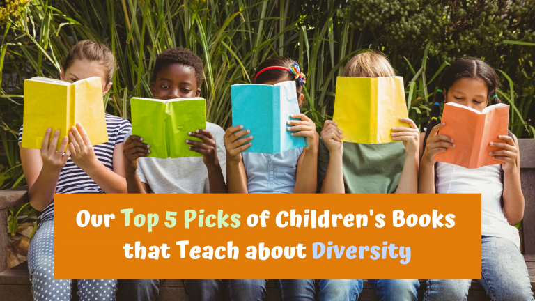 group of kids sitting with books covering faceswith text Our Top 5 Picks of Children's Books that Teach about Diversity