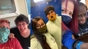 Three picture collage of people with masks selfies with people with disabilities