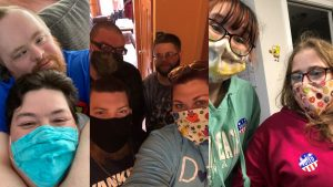 Collage of pictures of AIM staff with masks selfies with people with disabilities