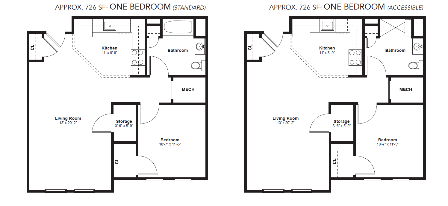 layout of apartments for Broad Street Commons