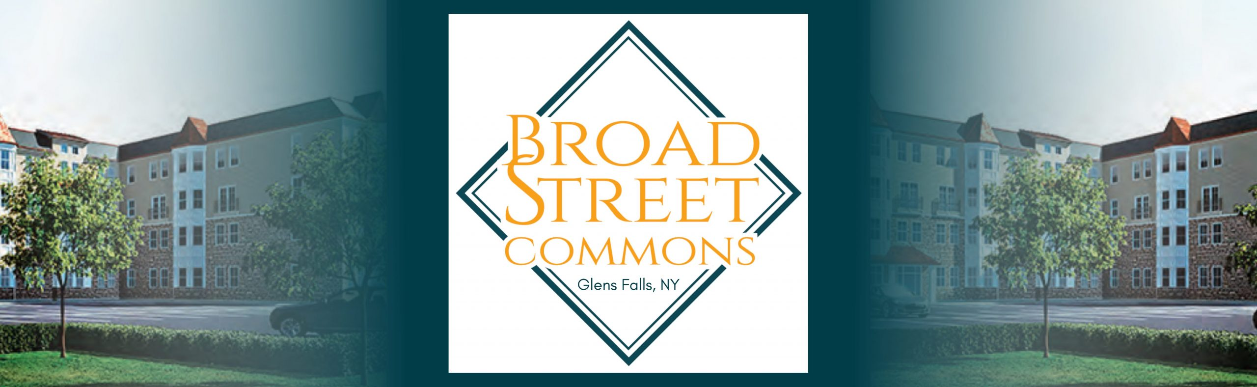 Broad Street Commons logo with images of outside of the building around it