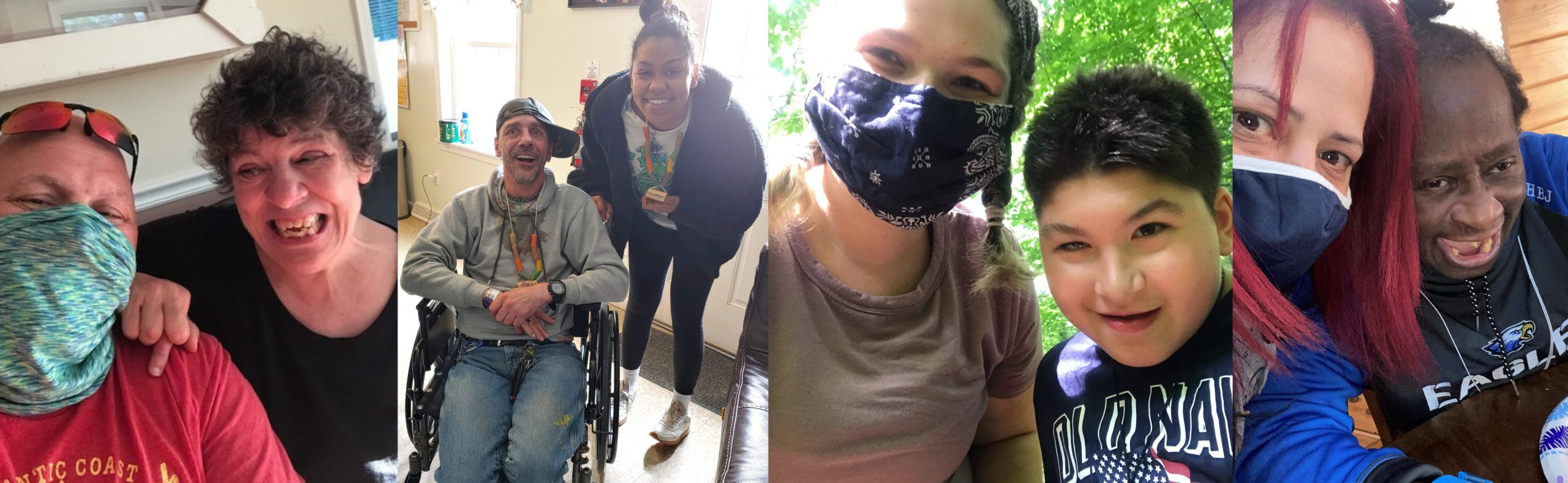 group of images of people with masks and people with disabilities