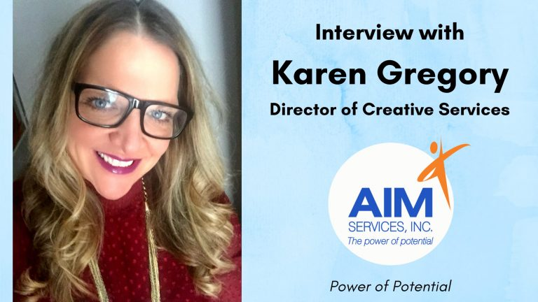 "Woman with glasses and maroon sweater with text ""Interview with Karen Gregory"""