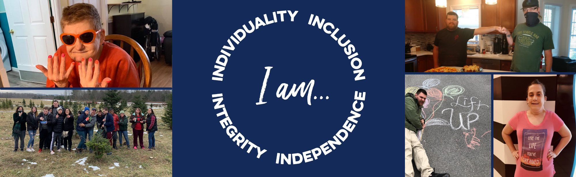 collage of images with I AM individuality inclusion independence integrity