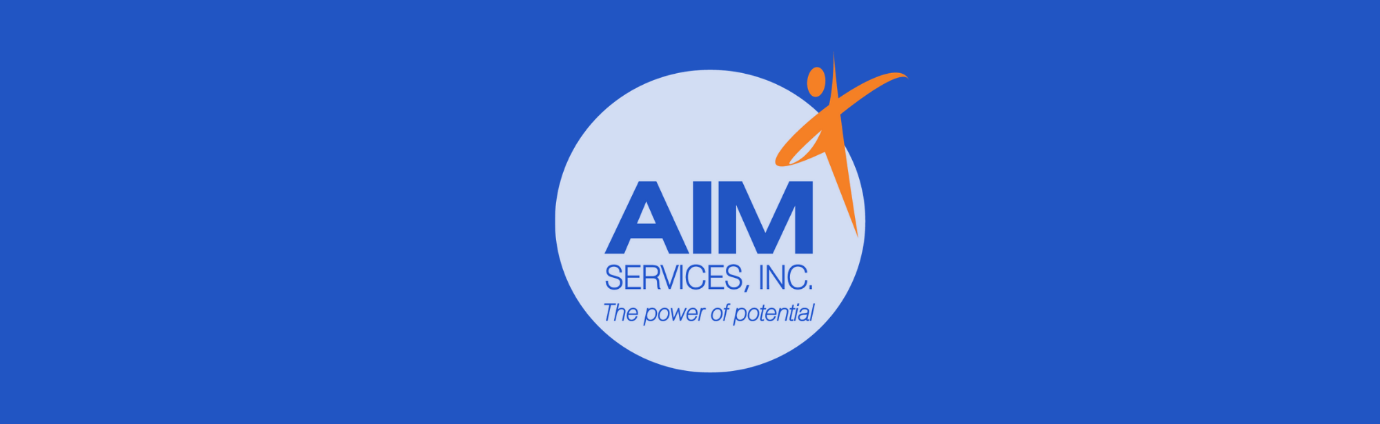 AIM logo on bright blue background