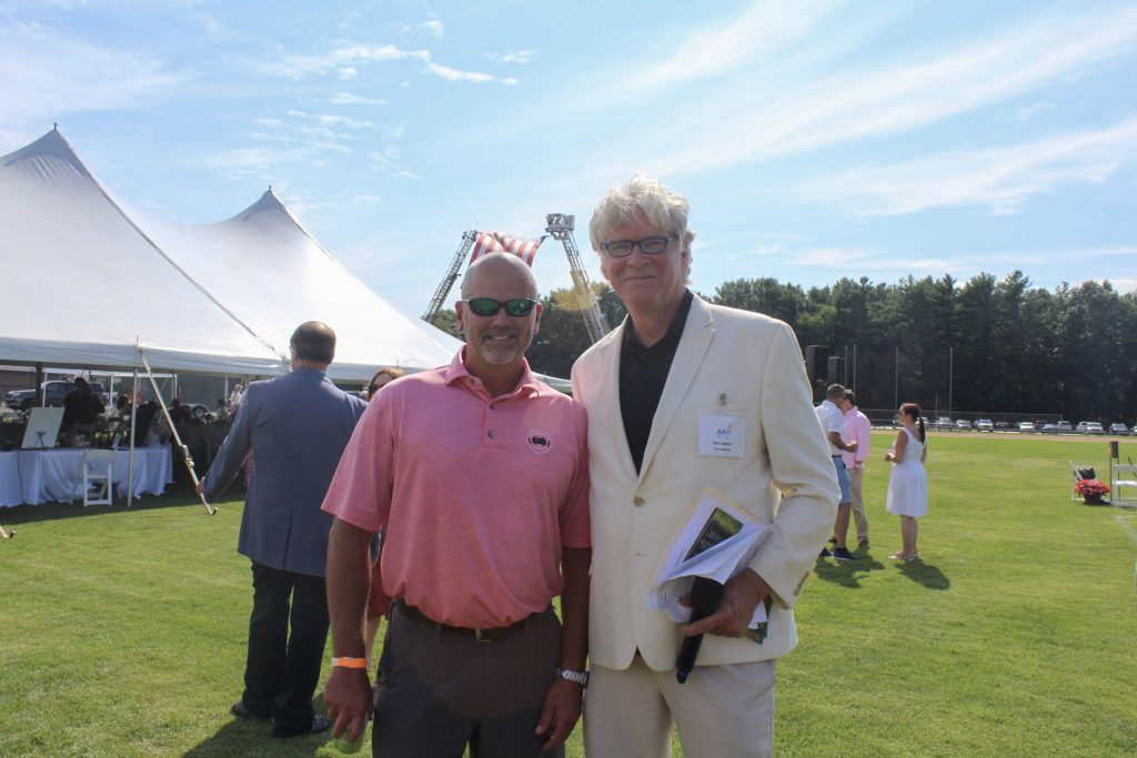 Kurt Jaeger with Walt Adams smiling together at AIM Services Croquet on the Green 2021