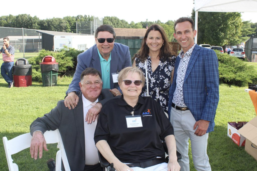 Brian Gwynn, Sharon Dominguez, Ramon Dominguez, Chris Lyons, and June MacClelland at AIM Services Croquet on the Green 2021