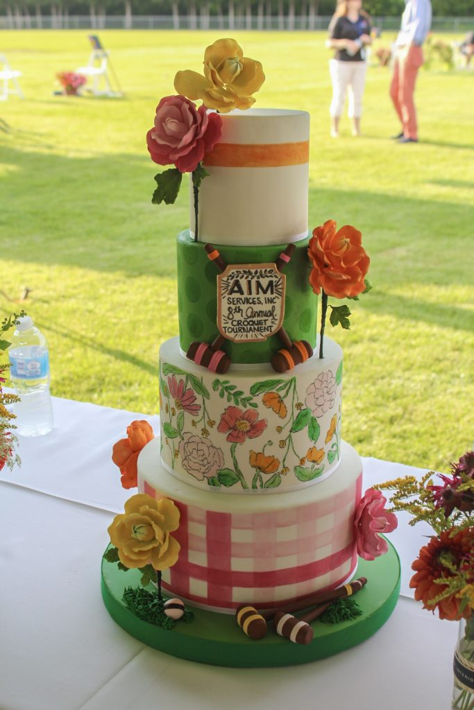 Croquet themed cake at AIM Services Croquet on the Green 2021